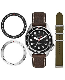 Men's Defender Brown Leather Strap Watch 42mm Limited Edition Boxed Set