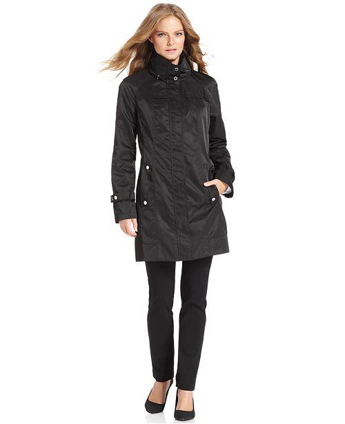 Calvin Klein Hooded Packable Stand-Collar Wrinkle-Resistant Anorak