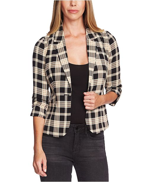 Vince Camuto Plaid Ruched Sleeve Blazer
