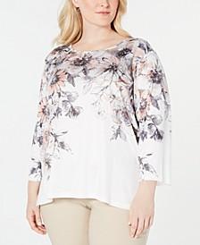 Plus Size Boardroom Embellished Printed 3/4-Sleeve Top