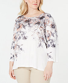 Alfred Dunner Plus Size Boardroom Embellished Printed 3/4-Sleeve Top