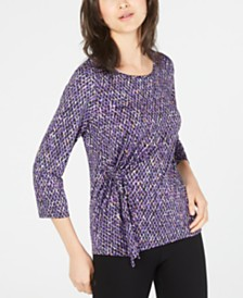 NY Collection Petite Printed Side-Tie Top