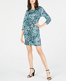 Petite Printed Ruffled Sheath Dress