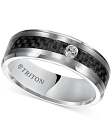 Men's Diamond Band (1/20 ct. t.w.) in Gray Tungsten Carbide & Black Carbon Fiber Inlay