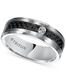 Triton Men's Diamond Band (1/20 ct. t.w.) in Gray Tungsten Carbide & Black Carbon Fiber Inlay