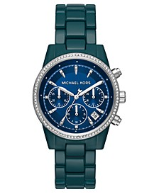 Women's Chronograph Ritz Teal Stainless Steel Bracelet Watch 37mm