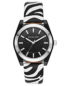 Women's Channing Zebra Print Leather Strap Watch 40mm