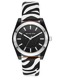 Michael Kors Women's Channing Zebra Print Leather Strap Watch 40mm