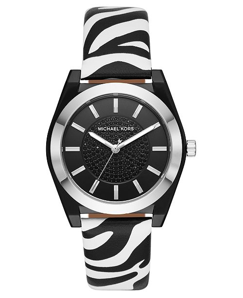 Michael Kors Women's Channing Zebra Print Leather Strap Watch 40mm