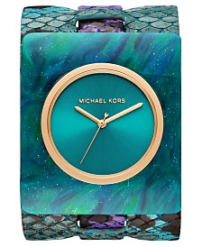 Michael Kors Women's Willa Teal & Purple Leather Cuff Watch 42x48mm