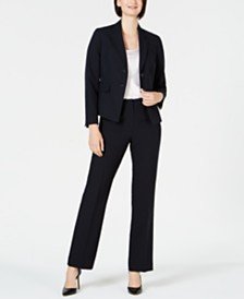 Le Suit Mini Pinstripe Two-Button Pantsuit