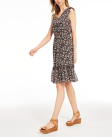 Maison Jules Floral-Print Ruffle-Hem Dress, Created for Macy's