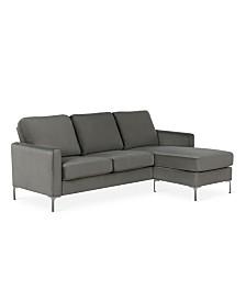 NovoGratz Chapman Velvet Sectional Sofa with Chrome Legs