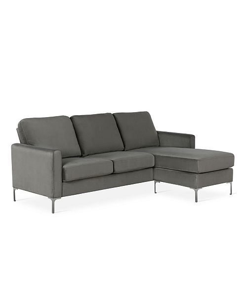Novogratz Chapman Velvet Sectional Sofa With Chrome Legs