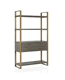 Cosmo living Alfie Metal Bookcase Etagere with Drawers