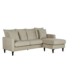 Dorel Living Ashby Reversible Sectional Sofa with Pillows