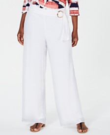JM Collection Belted Wide-Leg Pants, Created for Macy's