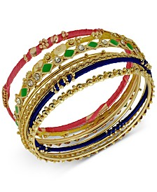 GUESS Gold-Tone 7-Pc. Set Crystal, Bead & Thread-Wrapped Bangle Bracelets, Created for Macy's