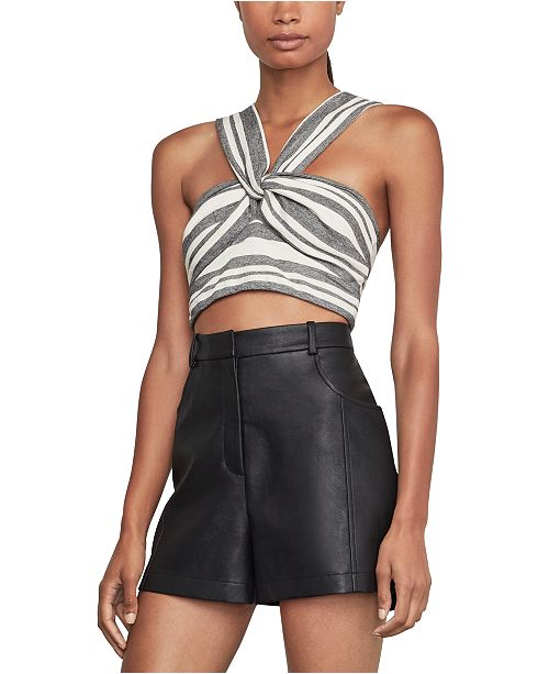BCBGMAXAZRIA Striped Twist-Front Cropped Top