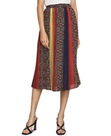 BCBGMAXAZRIA Colorblocked Printed A-Line Crinkle Skirt