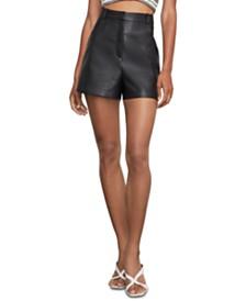 BCBGMAXAZRIA Faux-Leather Wide-Leg Shorts