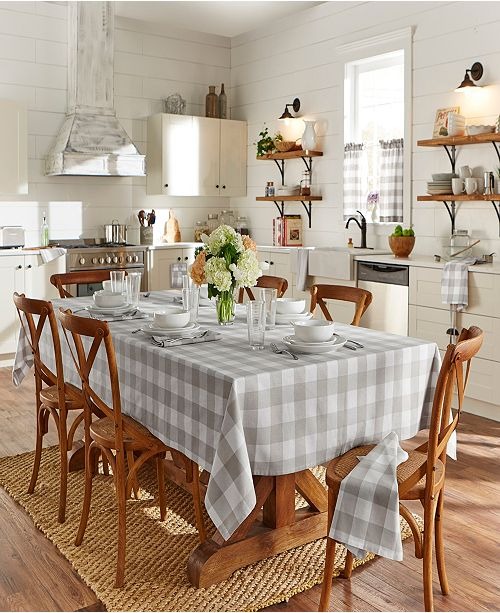 "Elrene Farmhouse Living Buffalo Check Tan/White 52""x 52"" Tablecloth"