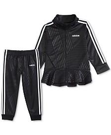 adidas Little Girls 2-Pc. Printed Tricot Peplum Jacket & Pants Set