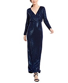 Faux-Wrap Glitter Gown