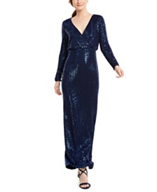 Vince Camuto Faux-Wrap Glitter Gown