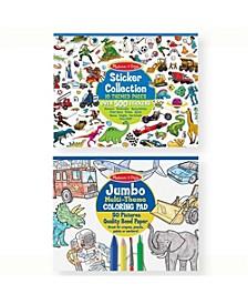 Boys Coloring / Sticker Pad Bundle