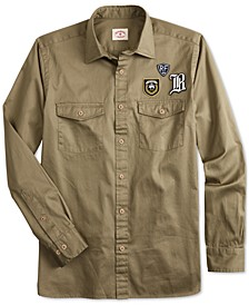 Men's Red Fleece Regular-Fit Twill Patched Long-Sleeve Shirt