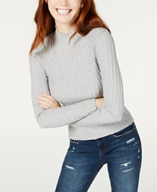 Hooked Up by IOT Juniors' Rib-Knit Mock-Turtleneck Sweater