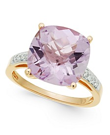 Pink Amethyst (6-1/10 ct. t.w.) & Diamond (1/10 ct. t.w.) Ring in 14k Rose Gold