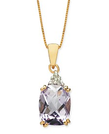 "Pink Amethyst (2-5/8 ct. t.w.) & Diamond (1/20 ct. t.w.) 18"" Pendant Necklace in 14k Rose Gold"