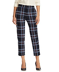 Plaid-Print Stretch Straight Pants