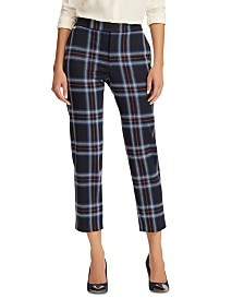 Lauren Ralph Lauren Plaid-Print Stretch Straight Pants
