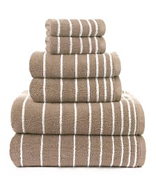 American Dawn Sapphire Resort Evelyn Stripe Yarn Dyed Stripe 6 Piece Bath Towel Set