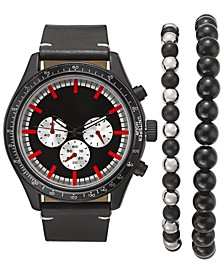 INC Men's Black Leather Strap Watch 48mm Gift Set, Created For Macy's