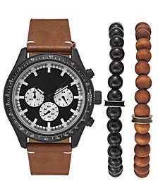 INC Men's Brown Leather Strap Watch 48mm Gift Set, Created for Macy's