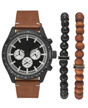 INC INTERNATIONAL CONCEPTS INC MEN'S BROWN LEATHER STRAP WATCH 48MM GIFT SET, CREATED FOR MACY'S