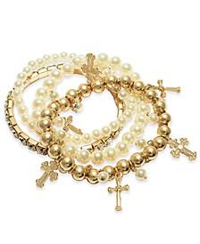 Gold-Tone 4-Pc. Set Crystal & Imitation Pearl Cross Charm Stretch Bracelets, Created For Macy's