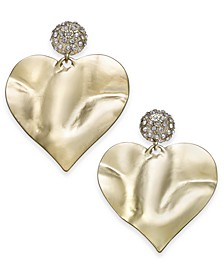 Gold-Tone Pavé Hammered Heart Drop Earrings, Created for Macy's