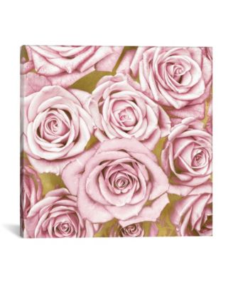 """Pink Roses On Gold by Kate Bennett Wrapped Canvas Print - 26"""" x 26"""""""