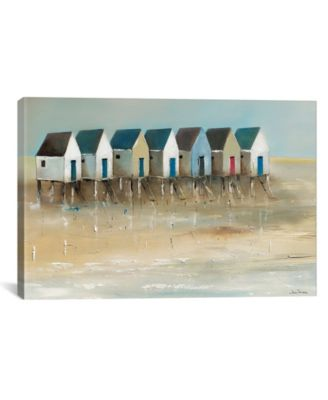 Beach Cabins I by Jean Jauneau Wrapped Canvas Print - 18