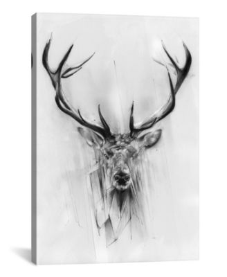 Red Deer by Alexis Marcou Wrapped Canvas Print - 40