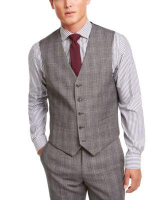 Men's Modern-Fit THFlex Stretch Gray/Black Plaid Suit Separate Vest