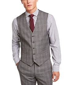 Men's Modern-Fit THFlex Stretch Gray/Black Plaid Suit Separate Vest