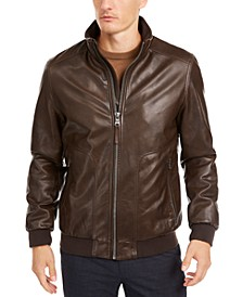 Men's Faux Leather Bomber Jacket