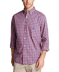 Men's Classic-Fit Blue Sail Casual Plaid Shirt, Created for Macy's