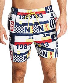 "Nautica Men's Blue Sail Maritime Flag 6"" Swim Trunks, Created for Macy's"